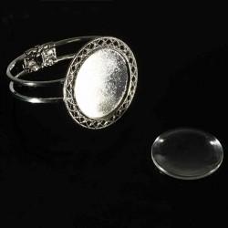 1 support bracelet cabochon rond argent  motif triangle  +cabochon verre 35mm