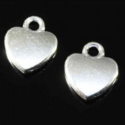 10 breloques coeur plat argent plaqué 12x10mm