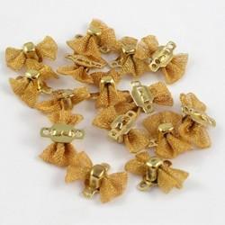 10 mini connecteurs laiton noeud papillon maille résille doré   12x9mm