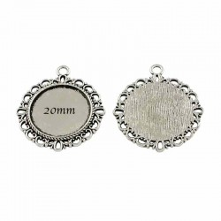 8 supports pendentif cabochon metal argente rond 34x30mm
