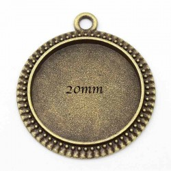 10 supports cabochon pendentif bronze rond 29x25mm