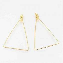 10 supports boucle d'oreille laiton triangle  doré or fin 48x39mm