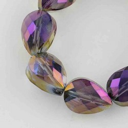 10 perles goutte cristal facettée arc en ciel indigo 14x10mm