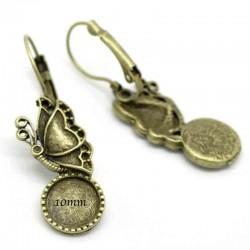 2 Supports boucle d'oreille cabochon 10 papillon bronze