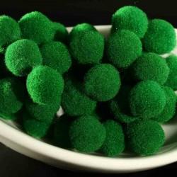 20 pompons boule peluche ronde 10mm vert prairie