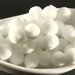 20 pompons boule rond 10mm blanc pur