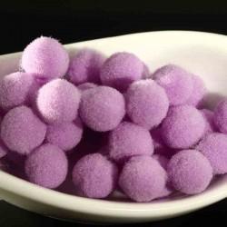 20 pompons rond boule parme lilas 10mm