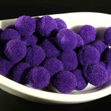 20 pompons boule rond 10mm violet peluche