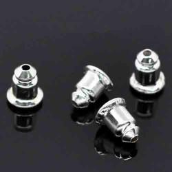 20 supports embout boucle d'oreille argente ventouse 6x5mm