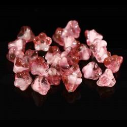 10 perles de verre Tchèque fleurs 8x6mm crystal pink