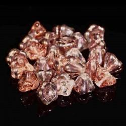 10 perles de  verre  fleur Tchèque  Apollo Gold 8X6MM