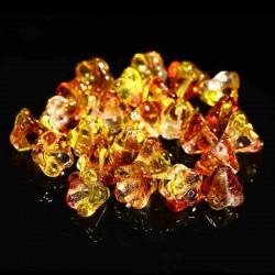 10 perles verre Tcheque fleur 8x6. Fuschia Lemon