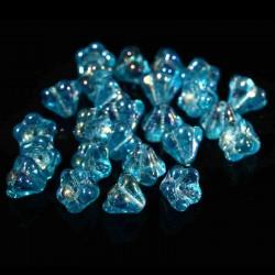 10 perles de verre Tchèque fleurs bleu mauve