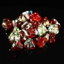 10 perles de  verre Tchèque  8x6mm Ruby Vitral
