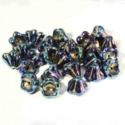 10 perles de verre Tchèque 8x6mm Iris Blue