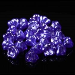 10 perles de verre Tchèque fleur  PURPLE SALVIA 8X6mm