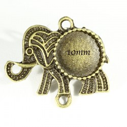 4 supports connecteur cabochon elephant 25x22mm