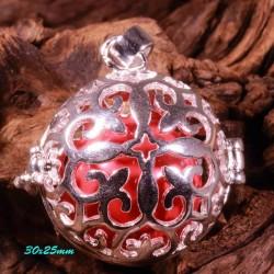 bola de grossesse croix medievale plaqué argent 30mm