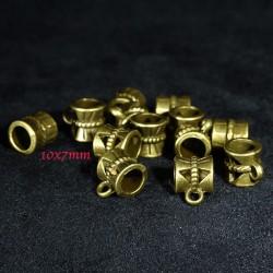 20 bélieres ronde bronze ethnique ciselées 10x7mm