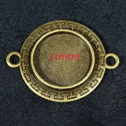 8 supports cabochon ronds connecteur ethnique bronze 16mm
