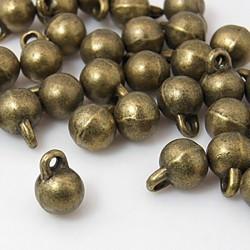 20 breloques pendentif boule lisse bronze 8,5mm