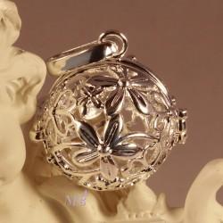 bola de grossesse  feuillage plaque argent 28mm