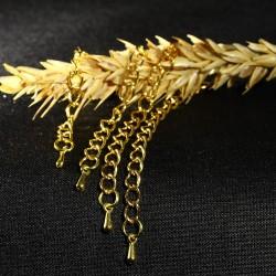 20 chainettes d'extension doré finition goutte 70mm