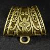 2 bélières  foulard pendentif bronze motif fleur 38x30mm