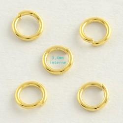 50 anneaux ouvert acier inoxydable or 5x0,8mm