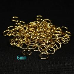 50 anneaux ouvert acier inoxydable doré 6mm