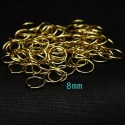 50 anneaux acier inoxydable or 8mm