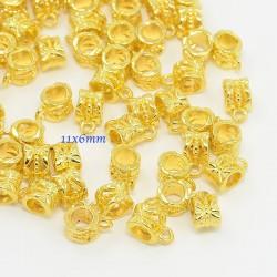 20 belieres ronde metal doré ciselée 11x6mm