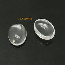 10 cabochons verre transparent ovale fond plat 14x10mm