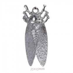 2 breloques cigale metal argente 35x15mm