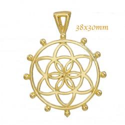 2 pendentifs fleur de vie métal dore 38x30mm