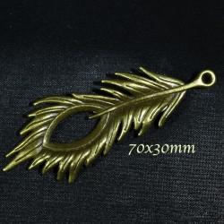2 breloques pendentif plume bronze relief 70x30mm