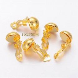 1paire boucle d'oreille clip boule laiton or 16x13mm