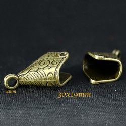 6 embouts calotte bronze losange 30x19mm
