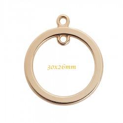2 pendentifs connecteur rond doré lisse plat 26mm