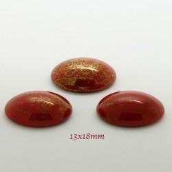 1 cabochon verre bohème ovale 13x18mm rouge marbré or