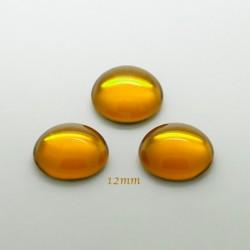 2 cabochons verre de bohème dore fond plat 12mm