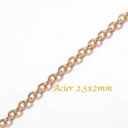 chaine acier inoxydable doudée  or ovale plat 2,5x2mm  x0,50cm