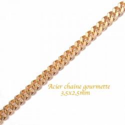 chaine acier inoxydable soudée or gourmette x0,50cm diametre 3,5x2,5mm