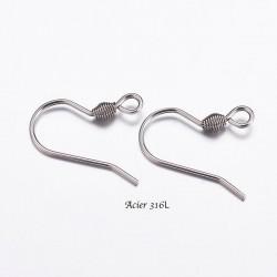 30 supports boucle d'oreille crochet acier 316L