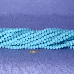 perles boulier en verre facettée turquoise  à prisme 4x3mmx50