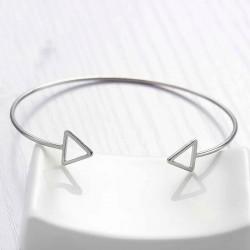1bracelet jonc motif triangle réglable argenté 16cm