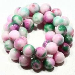 10MM : x10 perles  jade ronde blanc teinté vert/rose/blanc
