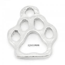 Patte d'ours breloque métal argenté 13x11mmx10 pièces