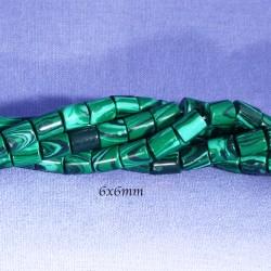 perles colonne malachite verte marbrée 10pieces 6x6mm