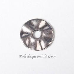 Perle disque ondulé metal argenté 17mmx20
